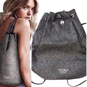Victoria's Secret Black Silver Backpack NWT